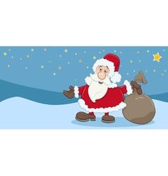 Christmas greeting card of santa claus vector