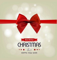 christmas greeting card with red ribbon and light vector image