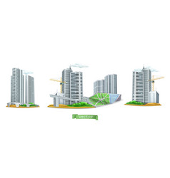 city buildings 3d icon set vector image
