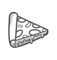 Contour delicious pizza fast food icon vector