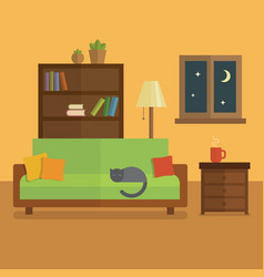 Cozy room interior flat bookcase with books and vector