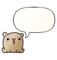 Cute cartoon bear and speech bubble in smooth vector