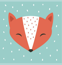 Cute fox cartoon scandinavian vector