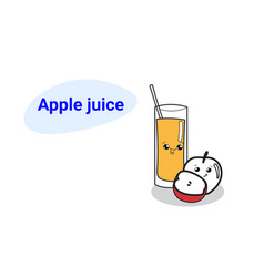 cute glass juice with apple fruit cartoon comic vector image