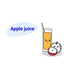 Cute glass juice with apple fruit cartoon comic vector