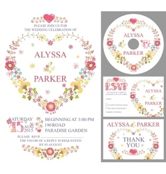 Cute wedding template setFloral heart wreath vector image