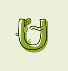 Eco style letter u logo hand-drawn with a marker vector