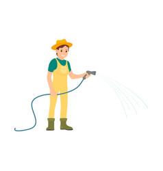 farmer with equipment working on farm cartoon icon vector image