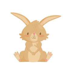 Flat icon of adorable brown rabbit bunny vector