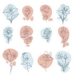 Floral decoration flowers in bloom line art vector