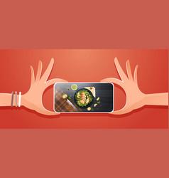 Food blogger taking mobile photo of fresh vector
