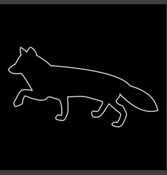 Fox of silhouettes white color path icon vector