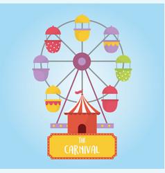 Fun fair carnival ferris wheel booth recreation vector