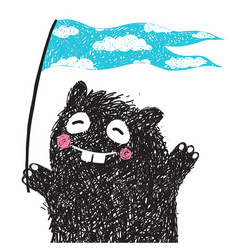 Funny monster with flag greeting vector