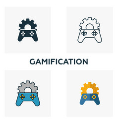 gamification icon set four elements in diferent vector image