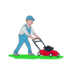 gardener mowing lawn cartoon vector image