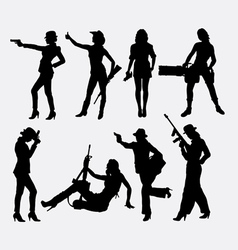 Girl and weapon sexy pose silhouette vector