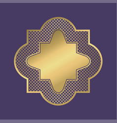 Gold geometric frame in arabic style vector