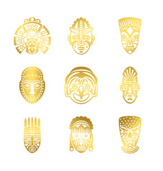 Gold tribal mask icons ethnic masks vector