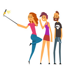 group of happy young people taking selfie photo vector image