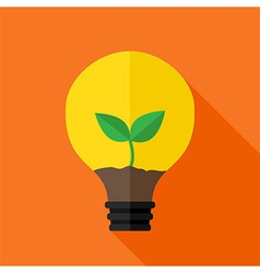 Growing plant inside idea lamp vector image vector image