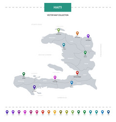 haiti map with location pointer marks infographic vector image