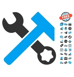Hammer And Wrench Icon With Free Bonus vector