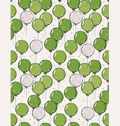 hand drawn green balloons pattern vector image