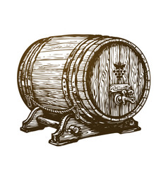 Hand drawn wooden wine cask drink oak barrel vector