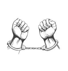 Handcuffed hands icon hand drawn vector