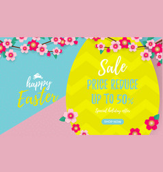 happy easter sale poster with paper cut easter vector image