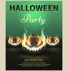 happy halloween poster realistic pumpkins vector image