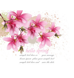 Hello spring pink flowers card watercolor vector