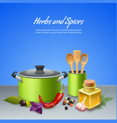 herbs and spices background vector image