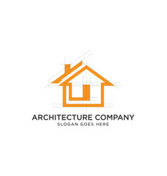 house architecture logo design with grid line vector image