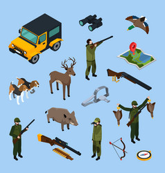 Hunting isometric icon set vector