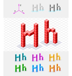 Isometric font from the cubes Letter H vector