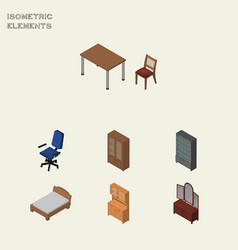 Isometric furniture set of drawer cabinet office vector