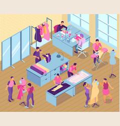 isometric sewing studio vector image
