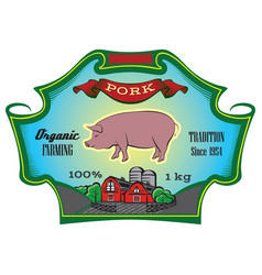 Label for packing beef with cow vector