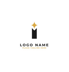 Letter i logo template design pole with sparkle vector