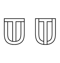 logo sign ut tu icon sign two interlaced letters u vector image