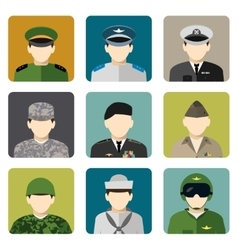 Military social network avatar icons set vector