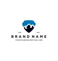 Mountain shield logo design concept vector