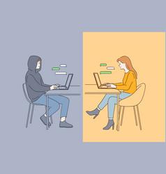 Online dating fraud trick in internet vector