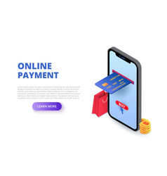 Online payment design concept with sitting man vector