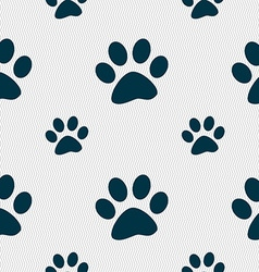 Paw icon sign Seamless pattern with geometric vector