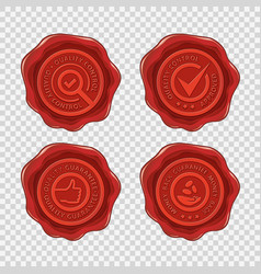 quality and money back guarantee isolated red wax vector image