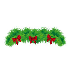 Realistic pine arch with red ribbon christmas vector