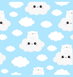 seamless pattern white bear face holding cloud in vector image